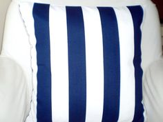 OUTDOOR Nautical Stripe Pillow Cover Navy Blue by FabricJunkie1640