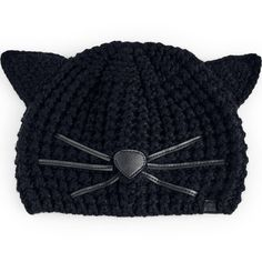 Karl Lagerfeld Choupette Beanie ($60) ❤ liked on Polyvore featuring accessories, hats, one colour, beanie hat, beanie cap, cat beanie, leather hat and karl lagerfeld