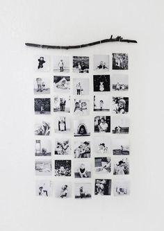 photos accrochées par ficelle sur branche