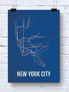 NYC Print - New York City Subway Transit Map - Poster, Boyfriend Gift, Husband Gift, Wall Art, Illustration, Subway Sign - Blue/White/Orange