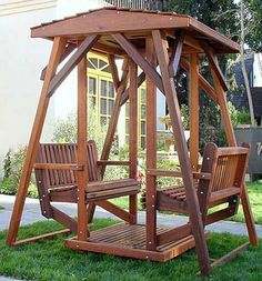 Anthony's Face to Face Gliders Lawn Swing, Patio Swing, Yard Furniture, Outside Furniture, Backyard Swings, Porch Swings, Wooden Swings, Outdoor Living, Outdoor Decor