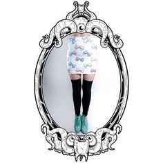 Pastel Eyebow Printed Bodycon Skirt in White on Etsy, $51.95