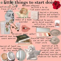 doing little things, little ways to improve life - - Classy Aesthetic, Angel Aesthetic, Little Things, Girly Things, Get My Life Together, Glow Up Tips, Aesthetic Memes, Princess Aesthetic, Self Care Activities