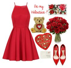 """""""Kiss you-Happy Valentine's day 😙♡"""" by hermiona355 ❤ liked on Polyvore featuring Chi Chi, Dolce&Gabbana and Moschino"""