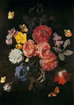 """""""Vase of Flowers with Butterflies"""" by Dutch painter Otto Marseus van Schrieck, 1669"""