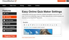 ClassMarker is an online testing source. Create custom tests and exams with no software installation. Results are automatically graded and i. Quiz Maker, My Dashboard, Flipped Classroom, Technology Tools, Blended Learning, Text You, Screen Shot, Software, Education