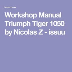 Workshop Manual Triumph Tiger 1050 by Nicolas Z - issuu