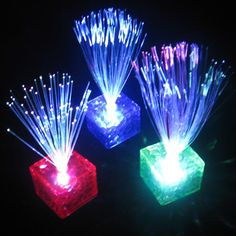 7 Color Changing Optical Fiber Flashing LED Cube Night Light Lamp