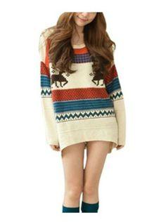 Amazon.com: Lanvibum Fawn Colored Stripe Loose Xmas Sweaters Womens: Clothing