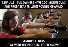 If legal gun owners were the problem, you'd know it. If we LEGAL gun owners were the problem, trust us, you'd know it. Pew Pew Pew, Patriotic Words, Gun Quotes, Pro Gun, Molon Labe, Gun Rights, Conservative Politics, Gun Control, Truth Hurts