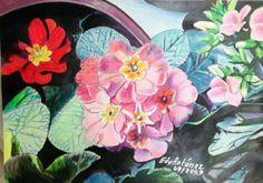 Il mio piccolo giardino - misto: olio e matite su carta 35X50 cm. - Edy Antúnez