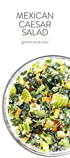 This salad is SO DELICIOUS, and made with kale, Romaine, avocado, crispy tortilla strips, pepitas, crumbled cotija cheese, and a creamy Greek Yogurt Mexican Caesar Salad Dressing.   gimmesomeoven.com