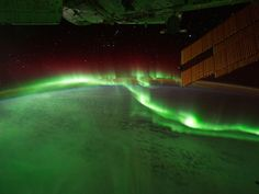 Astronauts on the International Space Station photographed the aurora australis, or southern lights, while passing over the Indian Ocean on 17 September
