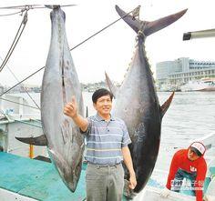 東港籍漁船嘉進春10號確定奪得今年「第一鮪」(右),且一次捕獲2條黑鮪也是史無前例,船長王丁春好得意。(薄力瑋攝)