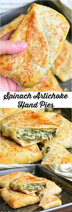 6 1/2 oz Artichoke hearts, jarred. 2 Garlic cloves. 9 oz Spinach, frozen. 1 Egg white. 1 Salt. 2 9-inch pre-made pie crusts. 4 oz Cream cheese. 1/2 cup Parmesan cheese, grated. 1 Parmesan cheese, grated.