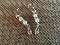 Beautiful silver, Swarovski clear crystal and white pearl earrings by RealBeadDesigns on Etsy