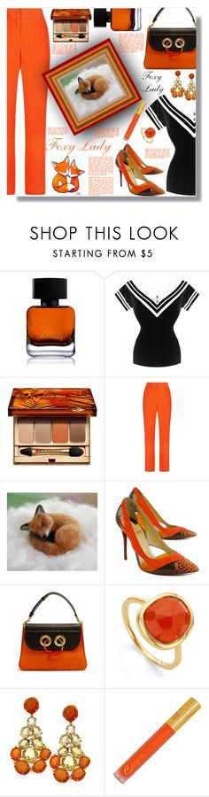 """""""Foxy Lady!!!"""" by sarahguo ❤ liked on Polyvore featuring The Collection by Phuong Dang, Clarins, Equipment, WALL, Christian Louboutin, J.W. Anderson and Monica Vinader"""