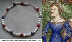 A lovely medieval necklace based on illumination from Queste del Saint Graal (Italian, 1380 - 1385) manuscript feauturing large pearls and large round beads of coral and lapis lazuli, as in the picture. Made of natural coral (Corallium Rubrum spieces), natural pearls and natural