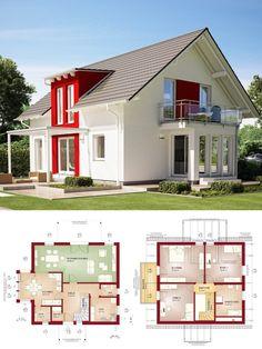 Modernes Einfamilienhaus mit Satteldach Architektur, Zwerchgiebel & Wintergarten Erker - Haus bauen Grundriss Fertighaus Evolution 154 V4 Bien Zenker Hausbau Ideen - HausbauDirekt.de