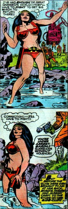 New Gods Big Barda prepares to fight Darkseid's demon Virman Vundabar's troops