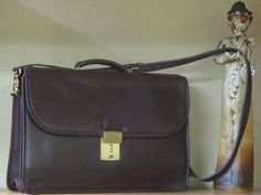 Coach Diplomat Mahogany Leather Double Gusseted Legal Size Flap Over Briefcase Laptop IPad Bag #5353- Excellent Condtion
