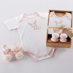 Bunny rabbit- layette pink set - for baby, perfect for Easter, spring, or a baby shower gift!