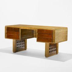 Osvaldo Borsani Attributed, Oak, Fruitwood and Brass Desk, 1940.