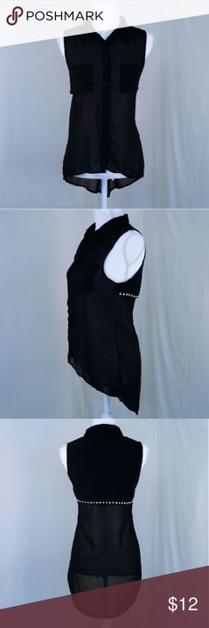 🐝Black Sleeveless Ma High Low Shirt Great for pulling over long sleeves to bring out a mpre styled look, this black hilo shirt belongs in every wardrobe.  The faux layer with studs along the back really brings out the tunic length.  The pointed collar and pockets on the front add interest to the piece. In good condition, a few loose threads along the seams. 10230 Sans Souci Tops Blouses