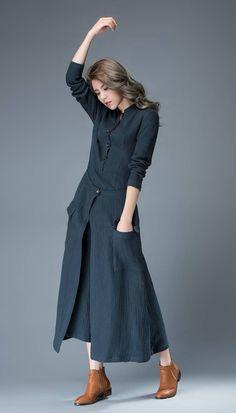 Navy Blue Linen Dress Layered Fit & Flare Long Maxi Length