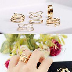 $2.49 6Pcs/set Gold Multi Row Rings Set Cross Design Knuckle Ring Tail Ring - BornPrettyStore.com