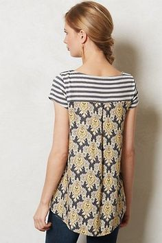 Refashion Co-op: Anthropologie Inspired Tee- This could be done even easier by using the back of a mens button up shirt Diy Clothing, Sewing Clothes, Sewing Shirts, Diy Fashion, Ideias Fashion, Womens Fashion, Umgestaltete Shirts, Diy Kleidung, Diy Vetement