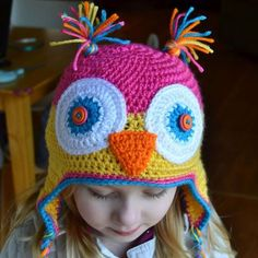 Colorful Owl Hat for Kids - Free Crohet Pattern