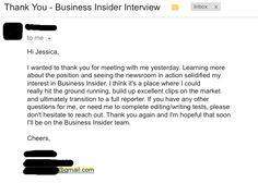 Interview tips: don't forget to send a thank you letter! Here's a good example.