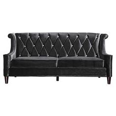 "Offer guests an extra seat with this stylish design, an enviable addition to your well-appointed home.   Product: SofaConstruction Material: Velvet upholstery and crystal buttonsColor: BlackFeatures: Diamond tuftingDimensions: 38"" H x 83"" W x 35"" D"