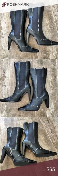 """Black Leather Below Knee-High Boots Like New! Genuine Black Leather Below Knee-High Boots - Heel 7.5"""" - White Stitching - Size 6B Shoes Heeled Boots"""