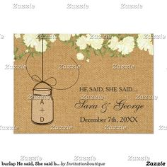 burlap He said, She said bridal shower game card
