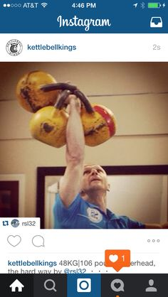 48KG|106 pounds overhead, the hard way by @rsl32  ・・・ #iksfa #kettlebell #kettlebellsport #kettlebells #strength #muscle #crossfit #homegym #garagegym #lift