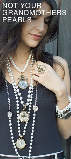 The great Audrey Hepburn said pearls are for older women. We're disagree. Pearls can have an edge and we're doing it! Click to checkout the ones featured here and more. These are part of the french kande spring 17 collection. Every piece is handmade with love from start to finish in our studio in Los Angeles, CA using french vintage medallions from the 1960's!