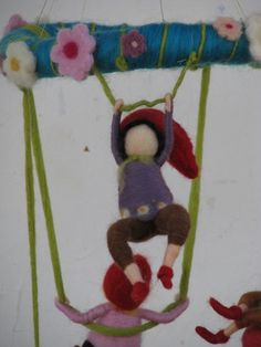 restless gnomes needle felted children mobile by Made4uByMagic