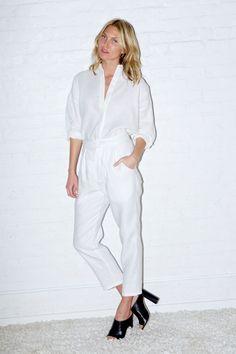 White Linen Wood Pants
