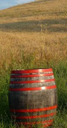 Old Red Rain Barrel Sitting In A Field