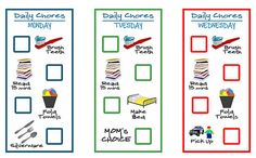 5 printable chore charts for kids. Make it last by laminating it, and using a dry erase marker to use over, and over.