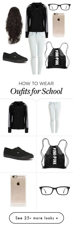 """""""School"""" by unicornclass on Polyvore featuring adidas, Current/Elliott, Vans, Ray-Ban and Incase"""