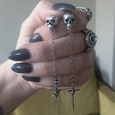 """skull and dagger earring set. available in sterling silver only. sterling silver posts and earring backs. 3.25"""" in length."""
