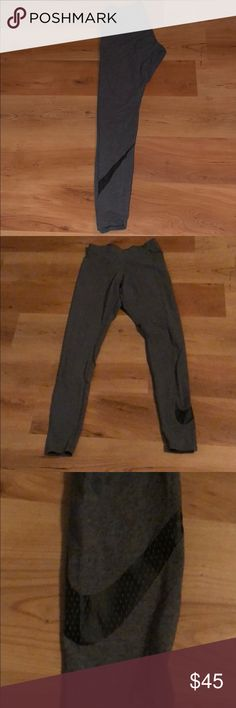 NIKE Yoga Pants Grey, skinny yoga pants with NIKE check on bottom left leg. Cotton material. Never been worn! SMOKE FREE HOME🚭 excellent condition! Nike Pants Skinny