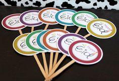 Happy Eid Multi colors Eid cupcake toppersSET OF 12 by NoahScraps, $10.00