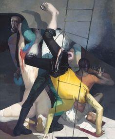 Nacht der Gaukler, 1984, Öl auf Hartfaser, 200 x 170 cm (verkauft) Arno Rink, Kunst Online, Museum, Spiderman, Joker, Painting, Fictional Characters, German, 1984