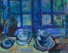 "huariqueje: "" The Blue Kitchen - Ludvig Karsten , 1913 Norwegian, 1920-2010 Oil on canvas, 68 x 53 cm """