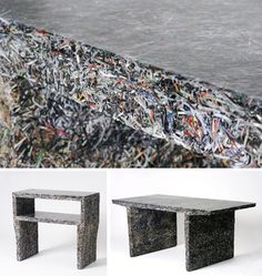 Shredded documents + molded resin = amazing furniture (dornob design). http://www.shamrockrec.com