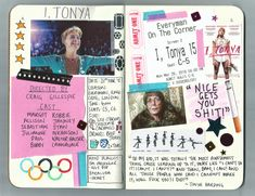 I Tonya Film Journal in Field Notes notebook. Instagram: @kateholderness Music Journal, Scrapbook Journal, Journal Layout, My Journal, Journal Pages, Journal Ideas, Journaling, Critique Film, Movie Collage